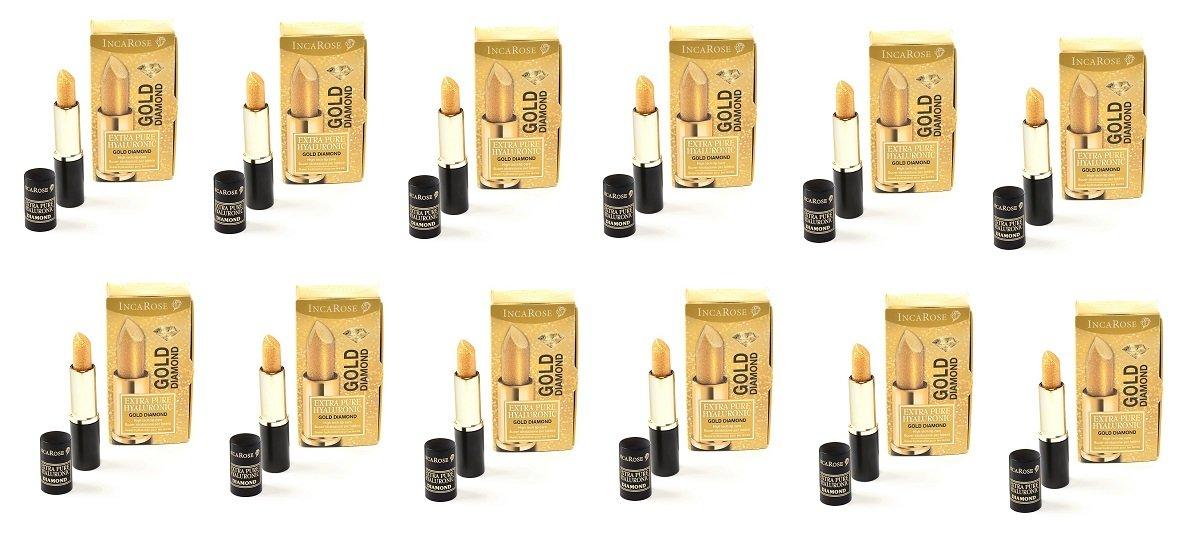 IncaRose - Eph Gold Diamond 12 paquetes de 4 ml Tratamiento Hidratante incoloro de Stick con ácido hialurónico para labios turgide, definite y Giovani: ...