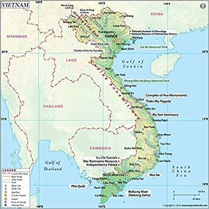 """Amazon.com : Vietnam Physical Map (36"""" W x 35.95"""" H) : Office Products"""