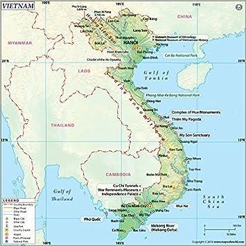 Vietnam Physical Map (36u0026quot; ...