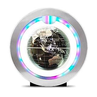 Globo girevole educativo Globo galleggiante da 4 pollici con luci a LED Leva magnetica a levitazione magnetica O-type Mappa del mondo per la decorazione della scrivania di casa, l'educazione della geo