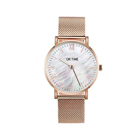 Slri SIridescentZB 1 Pieza Pareja Reloj Alloy Band Seashell Color Ronda Dial Cuarzo analógico Oro Rosa