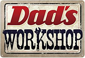 Garage Series Dad's Workshop Tin Metal Wall Decoration Sign, Man Cave/Garage Original Design of Thick Tinplate Wall Art (Dad's Workshop, 8x12 Inches (20x30 cm))