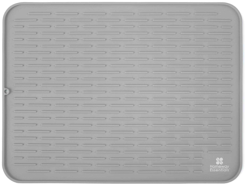 Silicone Dish Drying Mat - 23 x 18 - Extra Large Dish Drying Mat, Counter top Mat, Dish Draining Mat, Sink Mat, Large Silicone Trivet (XXL, GREY)