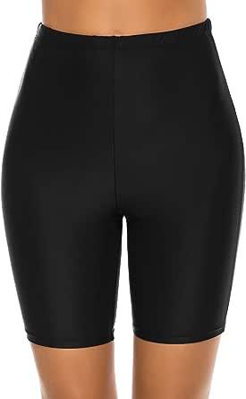 Lecieldusoir Women's Swim Shorts High Waist Long Boardshorts Swimsuit Capris Bathing Suit Tankini Beach Bottoms