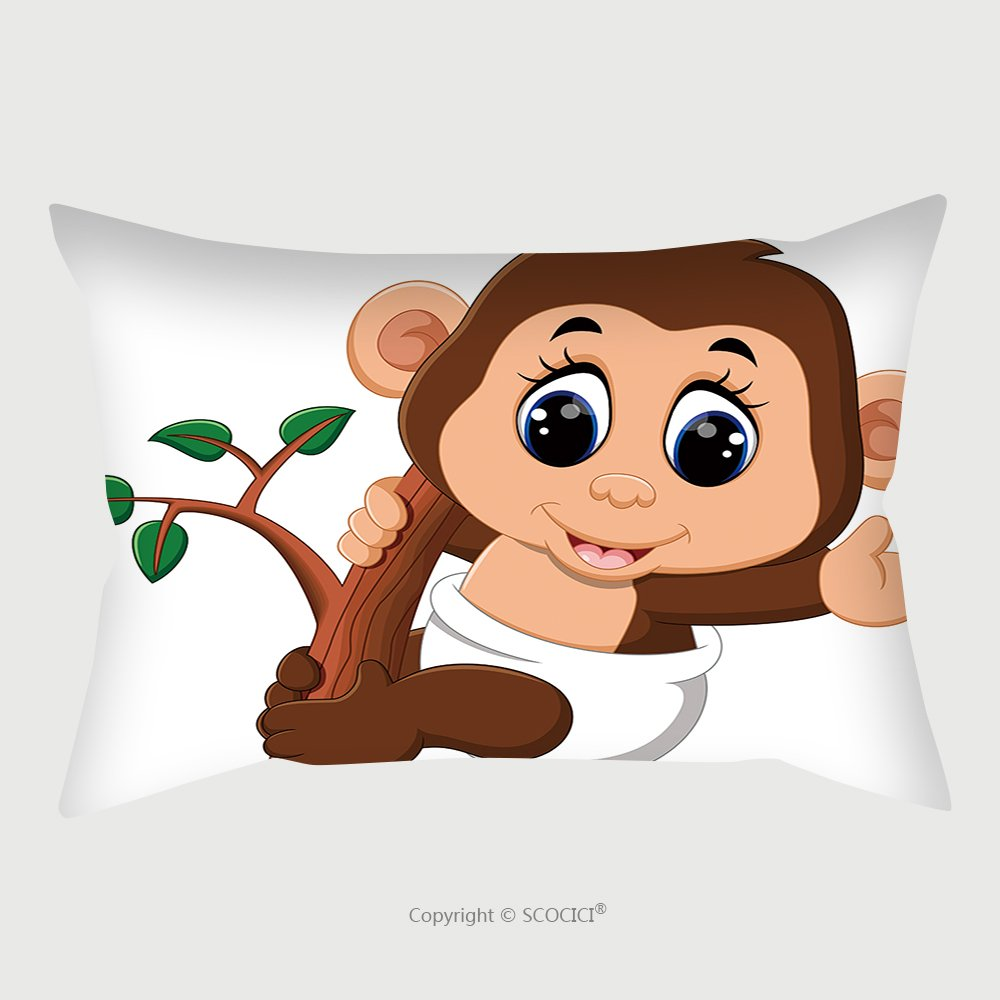 Custom Satin Pillowcase Protector Illustration Of Cute Cartoon Monkey 437894785 Pillow Case Covers Decorative by chaoran