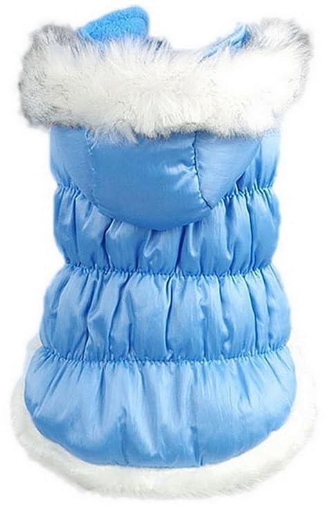 La vogue Chaqueta Acolchada Abrigo Para Perro Con Capucha Piel (Azul, XXL)