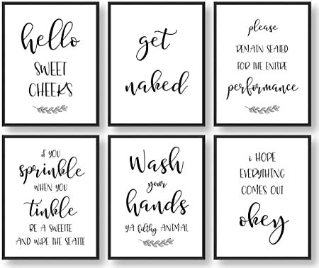 Amazon Com Giftsfarm Bathroom Wall Decor Bathroom Wall Art Farmhouse Bathroom Decor Bathroom Quotes Signs Rules Decorations Set Of 6 8x10in Unframed Posters Prints