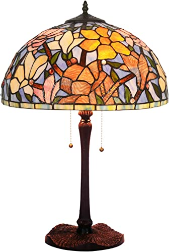 ht tiffany style decor table lamp 16 inch wide magnolia design stained glass shade 2 light zinc alloy antique base traditional handmade lighting for
