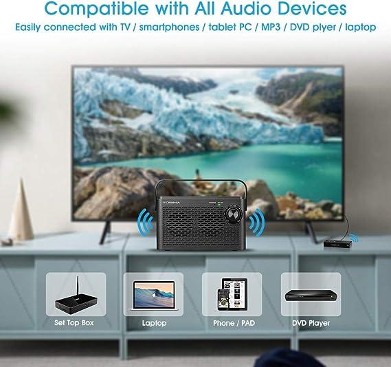 Altavoces de TV inalámbricos para una audición dura, caja de sonido de TV portátil, altavoz de asistencia auditiva para personas mayores para TV con conector de auriculares (TV necesita salida de audio