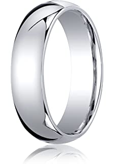 Mens 14K White Gold 7mm Low Dome Light Comfort Fit Wedding Band Ring