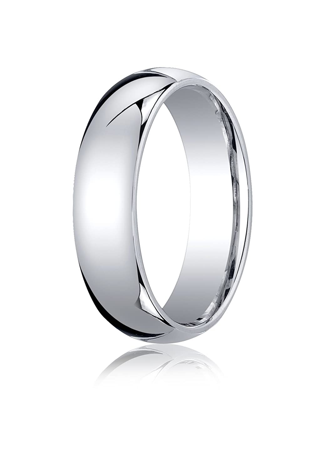 Mens 10K White Gold 6mm Slightly Domed Standard Comfort Fit Wedding Band Ring