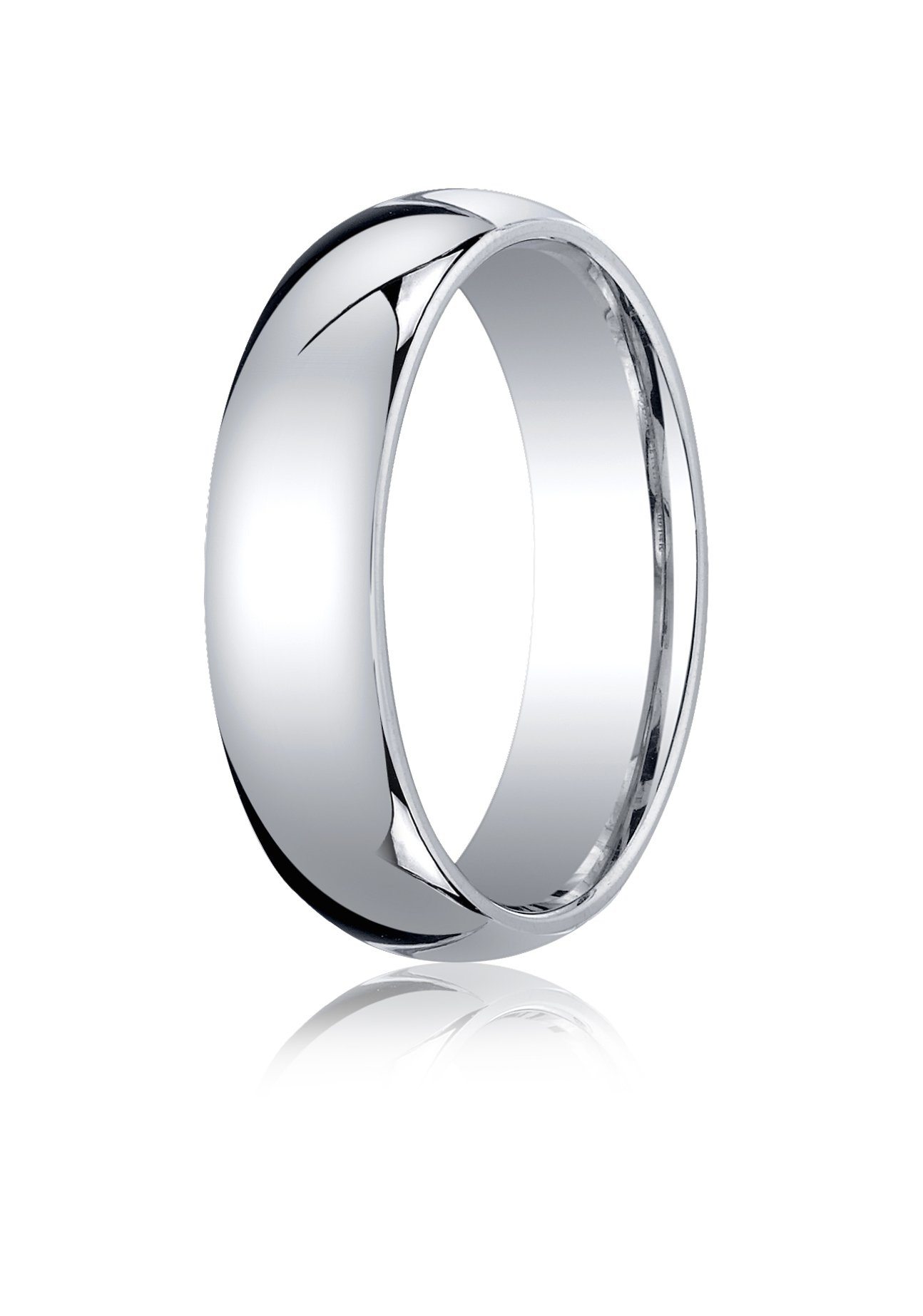 Mens 10K White Gold, 6mm Slightly Domed Standard Comfort-Fit Ring (sz 7.5)