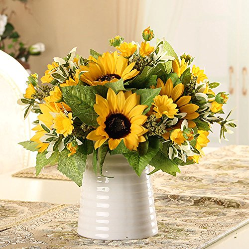 Riverbyland-Artificial-Flowers-Bunches-of-3-Yellow-Sunflowers