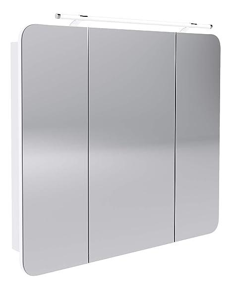 FACKELMANN LED Spiegelschrank Milano/Badschrank mit 3D  Effekt/Soft-Close/Maße (B x H x T): ca. 90 x 78 x 15,5 cm/Schrank mit  Spiegel & LED-Beleuchtung ...