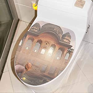 Removable Toilet Seat Sticker Traditional Man Doing a Ritual Ceremony in Ganges River Sacred Image Peach Grey House Decoration Wallpaper Removable Self-Adhesive, W8xH11 INCH