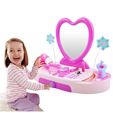 Pretend Princess Girls Vanity Table Beauty Play Set With Fashion U0026 Makeup  Accessories For Girls