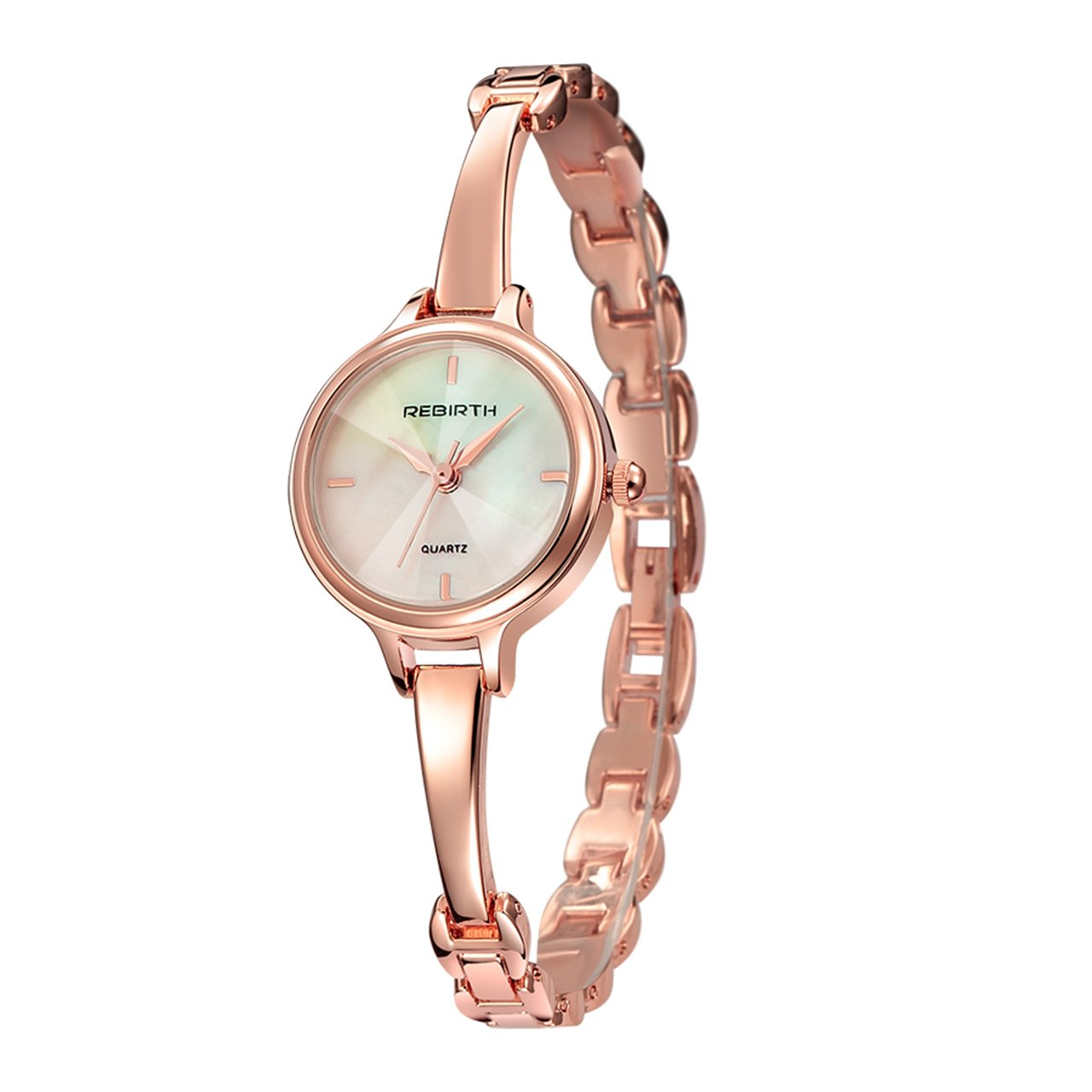 Top Plaza Womens Elegant Rose Gold Luxury Dress Bracelet Cuff Bangle Wrist Watch Analog Quartz 3 ATM Waterproof(White Dial)