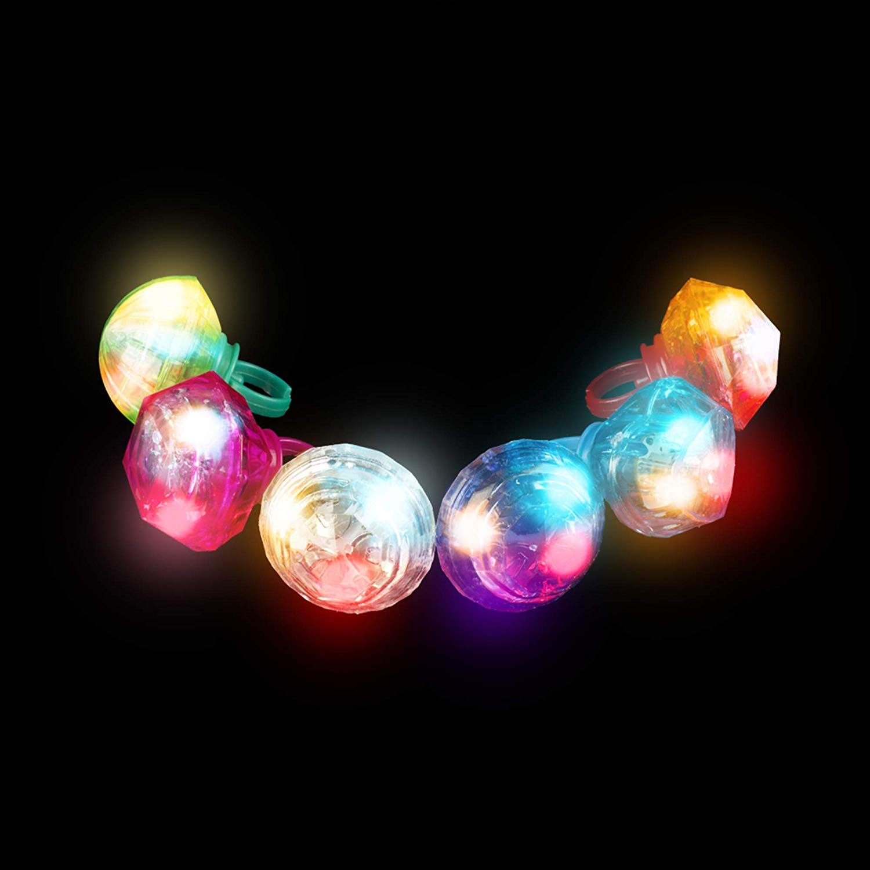 Fun Central (M765, 24 Pcs, Assorted LED Jumbo Gem Rings, Flashing Glow Rings, Flashing Rings, Glow in The Dark Rings, Light Up Rings