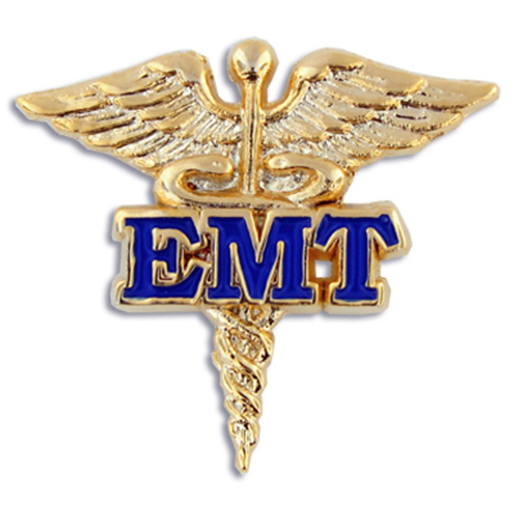 PinMart's EMT Caduceus Gold and Blue Medical Enamel Lapel Pin