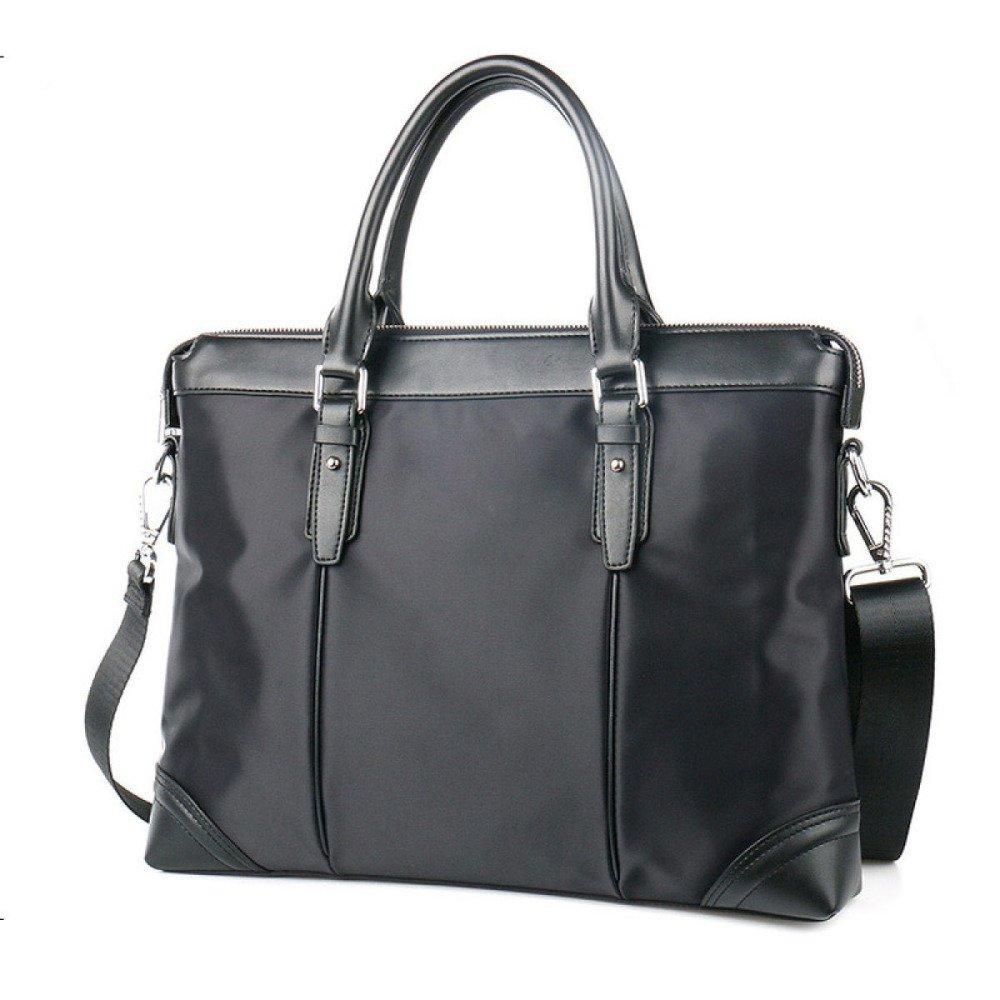 British Style Casual Men's Bag Waterproof Oxford Cloth Handbag Briefcase Shoulder Messenger Bag,Black-L by NUGJHJT (Image #2)