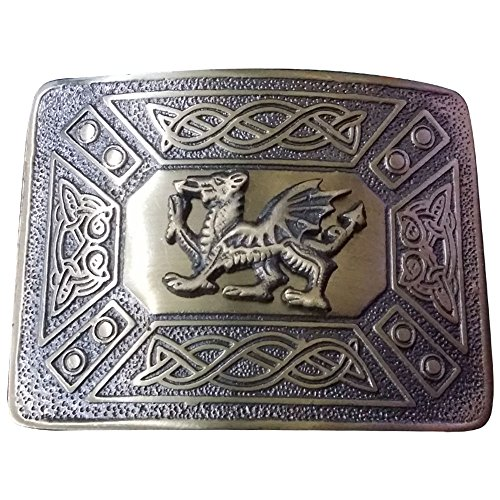 (Scottish Kilt Belt Buckle Celtic Knot Welsh Dragon Antique & Chrome Finish/Irish Dragon Belts Buckles (Welsh Dragon Antique Finish))