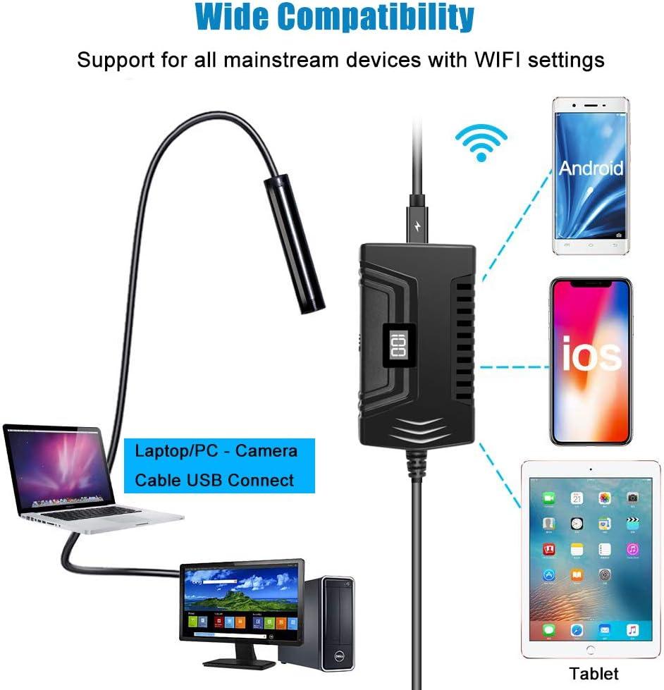 Tokenhigh Cam/éra Endoscope Endoscope WiFi Inspection Cam/éra Laptop,Tablette Android Mac PC 2 M/égapixels 1080P HD Camera Inspection IP68 Etanche Cam/éra Endoscopique avec 8 LED pour Iphone