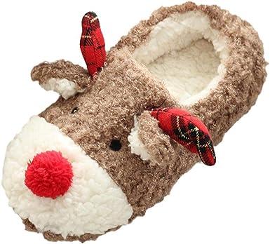 Blubi Women Christmas Deer Plush Warm Indoor Slippers Warm Slippers