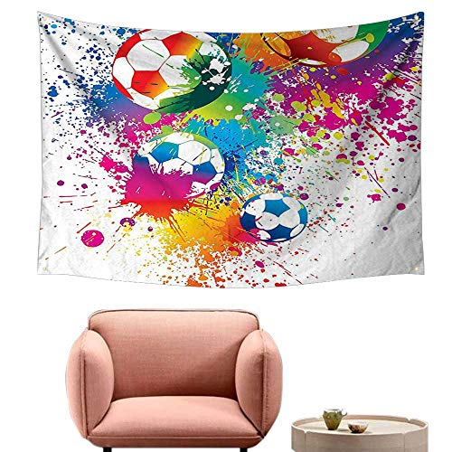 (Wall Sheets Tapestry Wall Tapestry for Living Room Splash All Over The Soccer Score World Cup Champi Ship Athletic Ful 84