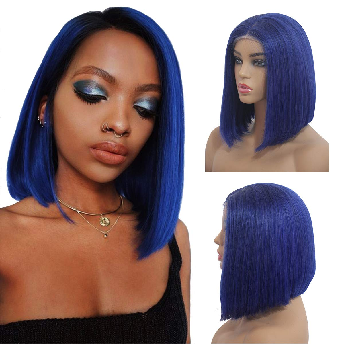 Amazon.com : Human Hair Lace Front Bob Wigs Middle Part Short Asymmetrical  Lace Frontal Wigs Glueless Cut Bob Wig Straight Hair 8