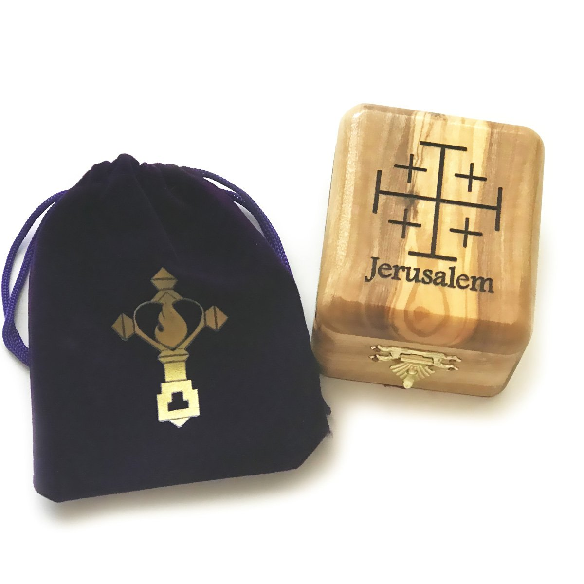 Rosary Box - Catholic Necklace Jewelry Box Made of Olive Wood from the Holy Land with Free Rosary Pouch by Christian Catholic Shop