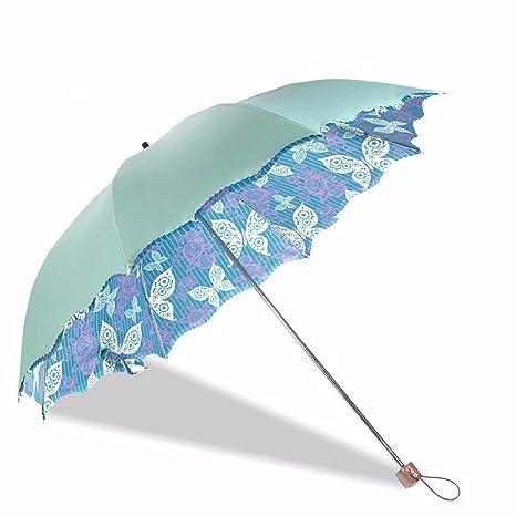 Paraguas - Negro Flor De Mariposa Doble Pegamento Sombrilla, Paraguas, Dos Paraguas Plegable Paraguas