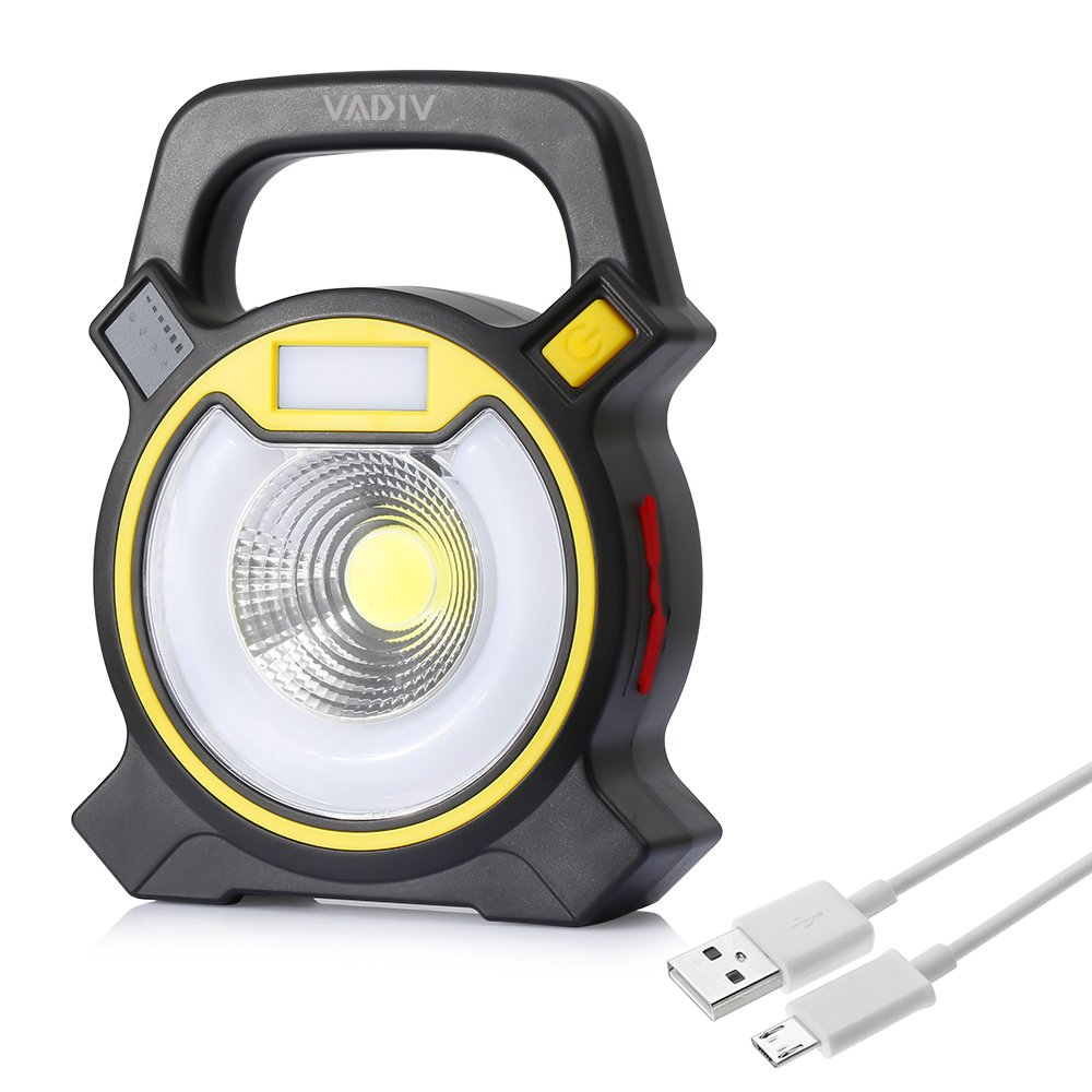Portable Ultra Bright LED Work Light, VADIV Rechargeable Flood Camping Spot Light Emergency Lamp - Ideal for Outdoor Camping, Fishing, Hiking, Boats LWL01