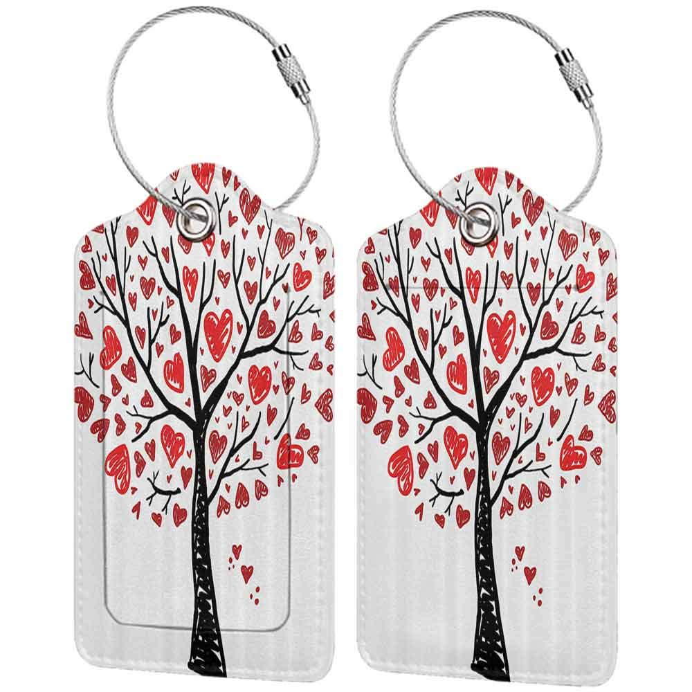 Modern luggage tag Love Decor Collection Tree with Hearts Leaves Stylized Forest Marriage Congratulation Cartoon Art Pattern Suitable for children and adults Red Balck White W2.7 x L4.6