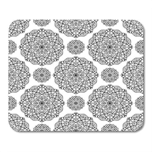 Nakamela Mouse Pads Asian Abstract The Pattern with Contour Filigree Mandalas Oriental Black and White Arabic Carpet Mouse mats 9.5