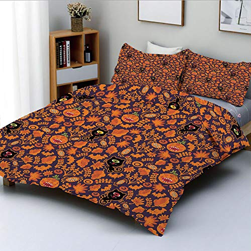 Duplex Print Duvet Cover Set King Size,Halloween Themed Elements on a Purple Background Scary Mosters DecorativeDecorative 3 Piece Bedding Set with 2 Pillow Sham,Dark Purple Orange,Best Gift for Kids ()