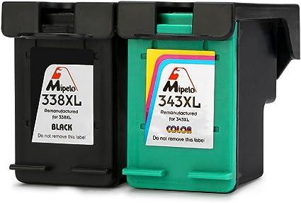 Mipelo Remanufacturado HP 338 343 338XL 343XL Cartuchos de tinta Compatible con Impresora HP Officejet 100 H470, HP Photosmart 2610 2713 2710, HP Deskjet 460c 9800 6540 (1 Negro, 1 Tricolor): Amazon.es: Oficina y papelería