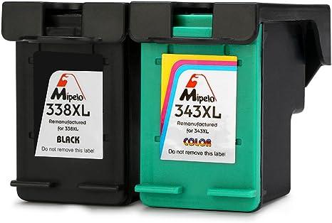Mipelo Remanufacturado HP 338 343 338XL 343XL Cartuchos de tinta ...