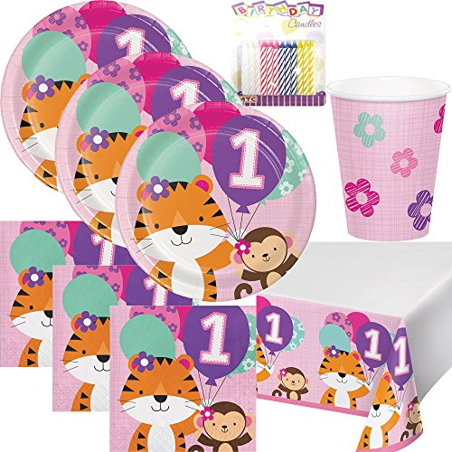 One is Fun ! Girls Birthday Theme 1st Party Supplies Pack (Serves-16) Dinner Plates, Luncheon Napkins, Cups and Table Cover - First Zoo Party Supply Tableware Set Kit Includes Birthday Candles -