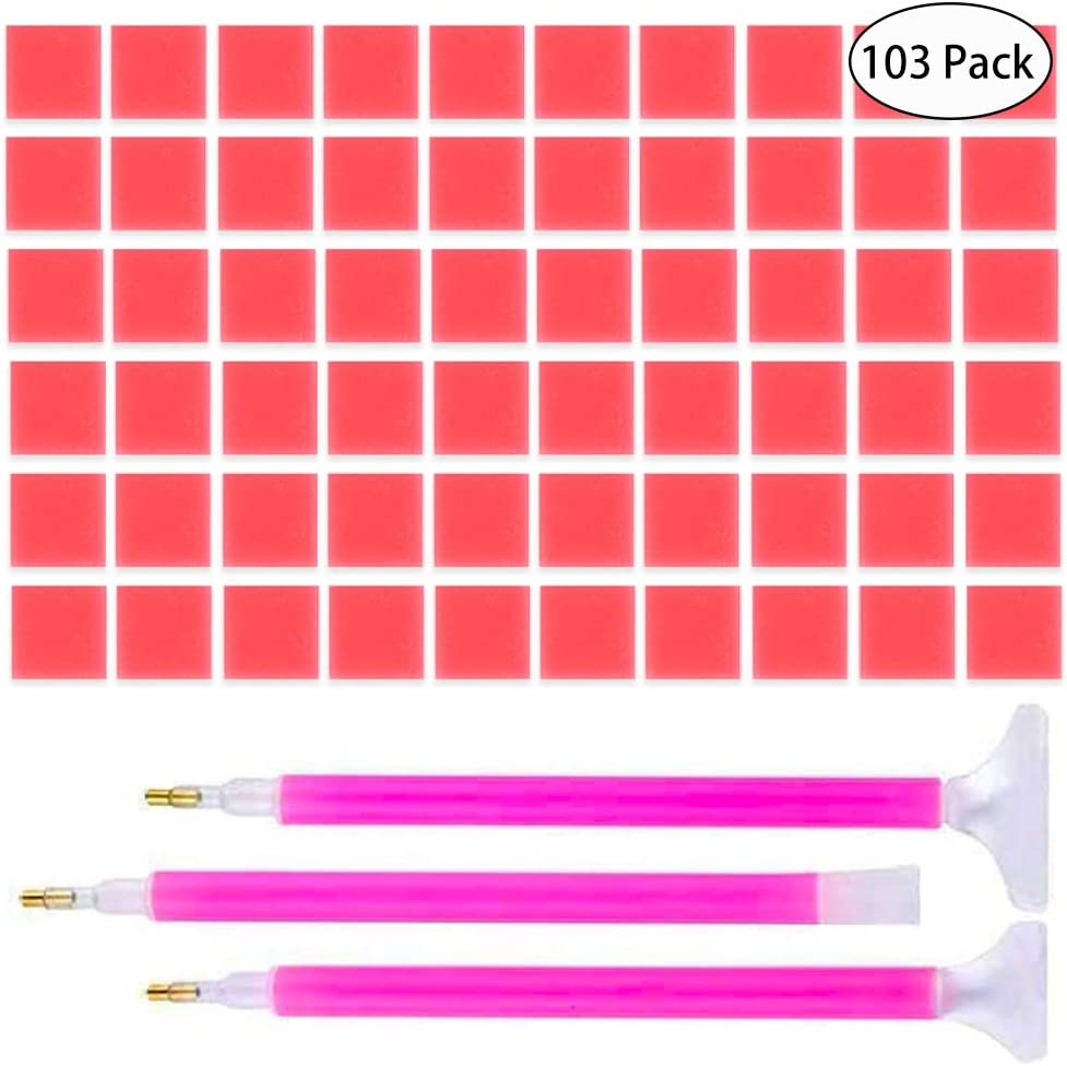 Embroidery Cross-Stitch Painting Set Tool with 3 Kinds of Pen Drilling Embroidery(103 Pack) IHUIXINHE 100 Pieces 0.8/×0.8 inches 5D Diamond Painting Glue Clay