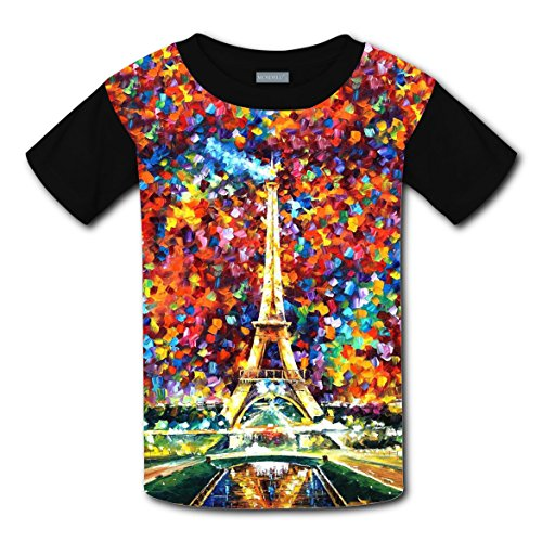 Paris Eiffel Tower Seine France T-shirts Tee Shirt for Kids Top Costume Round (France Modern Costume)