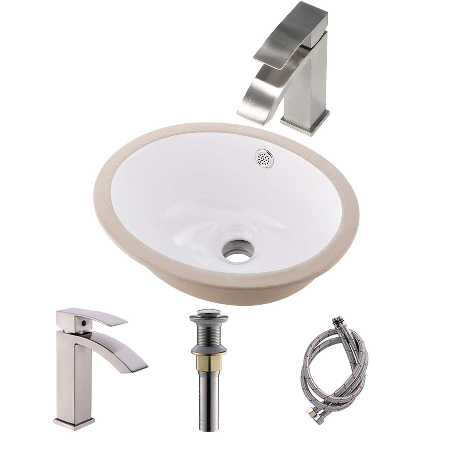 Bokaiya 19x15 Rectangle Bathroom Vessel Sinks And Faucet Combo Above Counter Modern White Porcelain Ceramic Countertop Bathroom Vanity Bowl Tall Brushed Nickel Faucet And Pop Up Drain Combo Tools Home Improvement