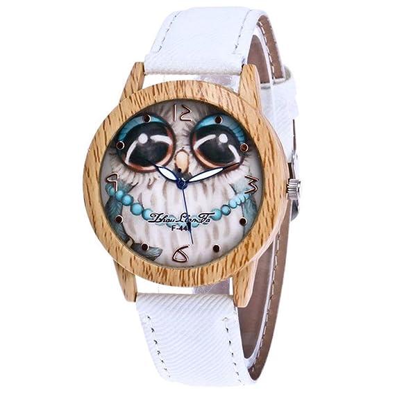 LD Mujer Reloj Reloj de Pulsera Quatz Reloj Relojes Madera Gato Watch Cute Cat: Amazon.es: Relojes