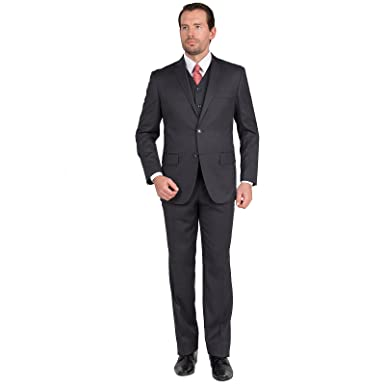 Carlo Lusso Mens Suit 2 Button 3 Piece Modern Fit with Vest at ...