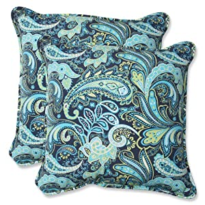 Pillow Perfect Outdoor Pretty Paisley Throw Pillow, 18.5-Inch, Navy, Set of 2 by Pillow Perfect