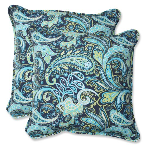 Pillows Outdoor Throw Paisley (Pillow Perfect Outdoor Pretty Paisley Throw Pillow, 18.5-Inch, Navy, Set of 2)