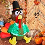 Angela&Alex 6 Ft Thanksgiving Inflatable Decorations, Thanksgiving Inflatable Turkey with LED Lights Indoor Outdoor Blow Up Decorations for Halloween Thanksgiving Home Garden Yard Decor