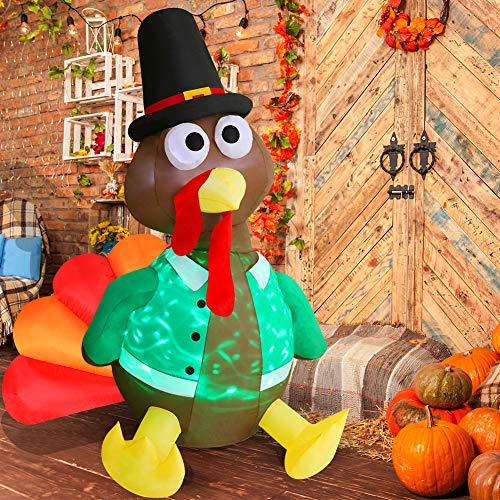 Angela&Alex 6 Ft Halloween Inflatable Decorations, Thanksgiving Inflatable Turkey with LED Lights Indoor Outdoor Blow Up Decorations for Halloween Thanksgiving Home Garden Yard Decor from Angela&Alex