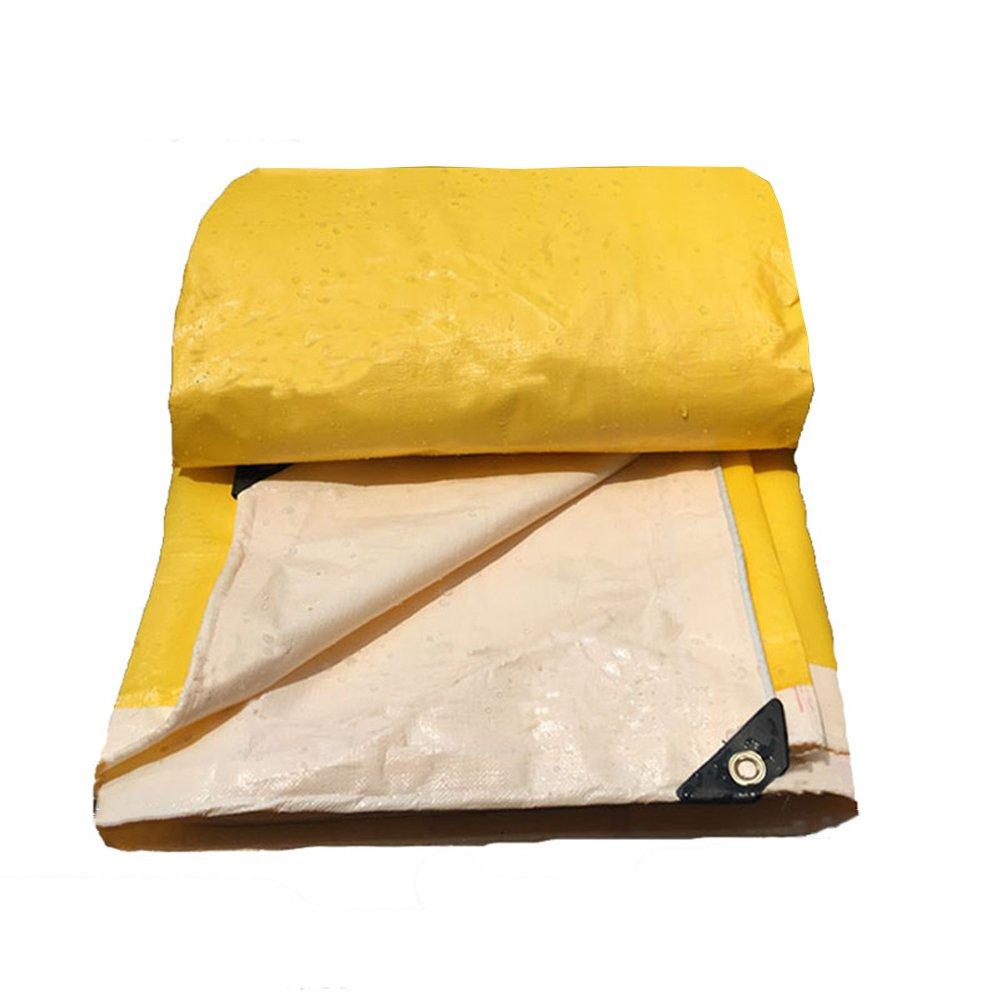 PENGFEI Tarpaulin Waterproof Heavy Duty Gardening Plant Sun Protection Carport Shade Soft, Yellow + White Thickness 0.34MM, 190 G/M² (Size : 3 x 4m)