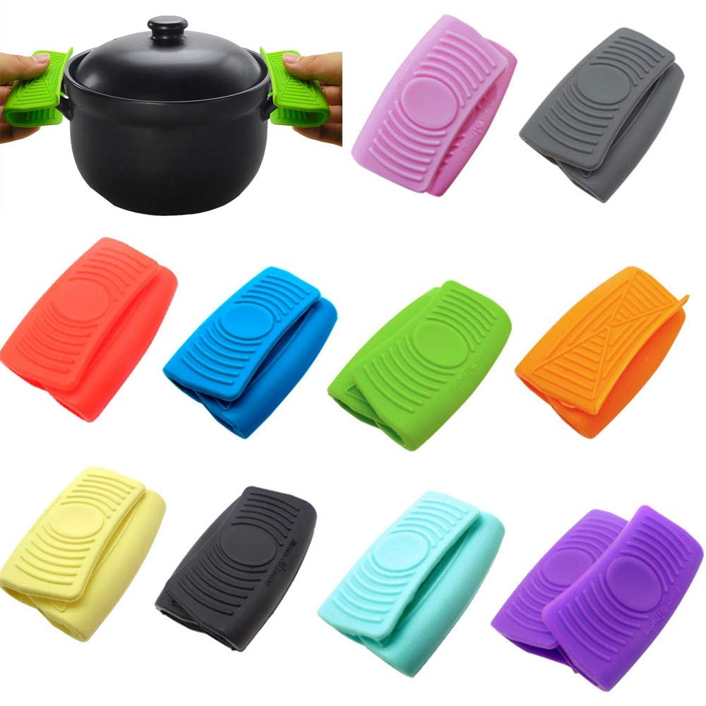 Sinwo 1 Pair Mini Mitt Cooking and Oven Pinch Grips Heat-Insulated Pan Ear Clips Kitchen Supplies (Gray)