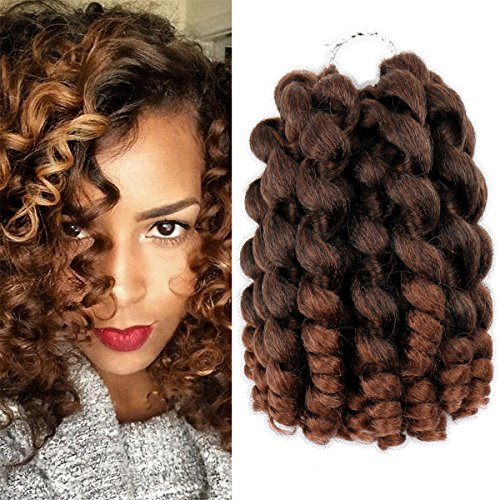 Jamaican Bounce Crochet Hair Wand Curl Synthetic Hair Crochet Braids 8 Inch 20 Strands/Pack ELEGANT MUSES Afro Kinky Braiding Hair Extensions for Black Women (8, 1B/30)